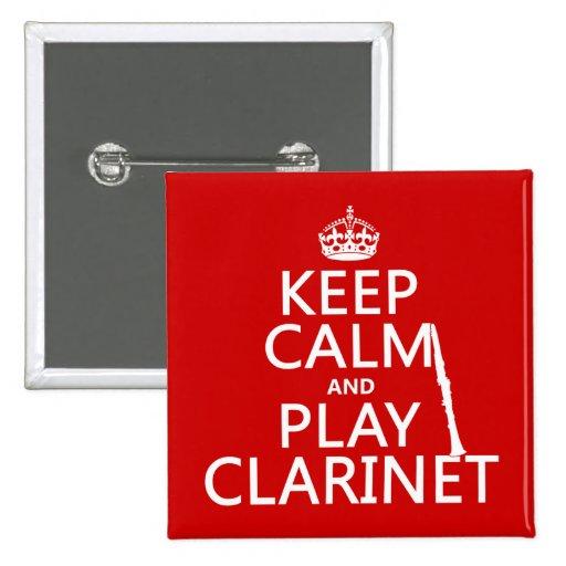 Guarde el Clarinet de la calma y del juego Pin Cuadrado