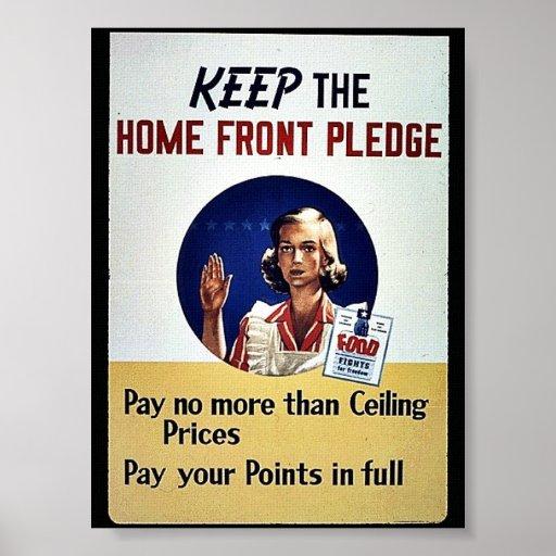 Guarde el compromiso de la frente interno posters