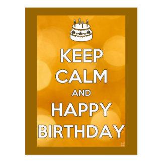 Guarde el cumpleaños tranquilo y feliz postales