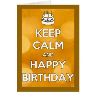 Guarde el cumpleaños tranquilo y feliz tarjeta de felicitación