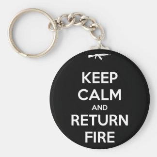 Guarde el fuego tranquilo y de vuelta llavero redondo tipo pin