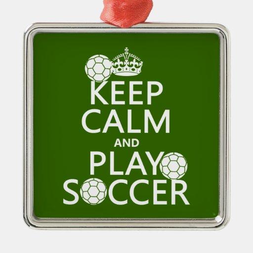 Guarde el fútbol de la calma y del juego adorno navideño cuadrado de metal