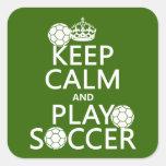 Guarde el fútbol de la calma y del juego colcomanias cuadradas personalizadas