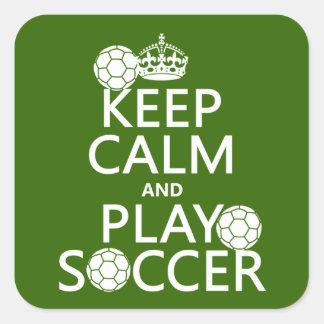Guarde el fútbol de la calma y del juego pegatina cuadrada