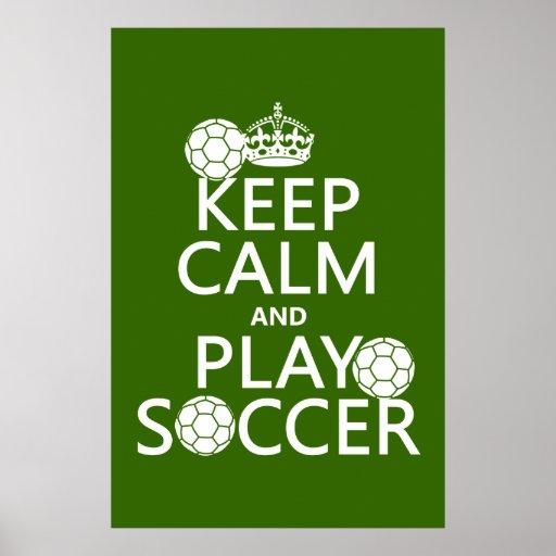 Guarde el fútbol de la calma y del juego póster