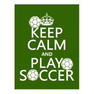 Guarde el fútbol de la calma y del juego tarjeta postal