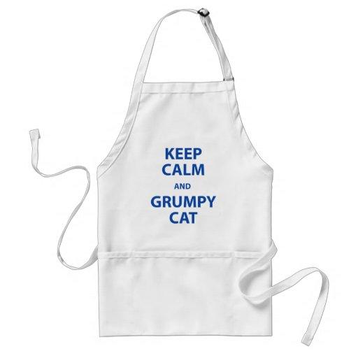 Guarde el gato tranquilo y gruñón delantales