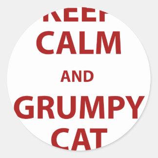 Guarde el gato tranquilo y gruñón pegatina redonda