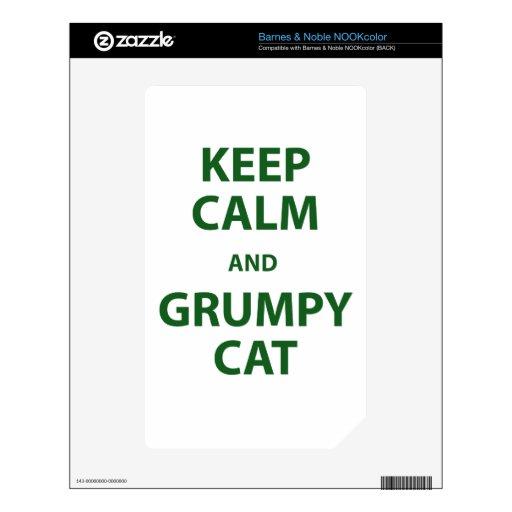 Guarde el gato tranquilo y gruñón calcomanías para el NOOK color