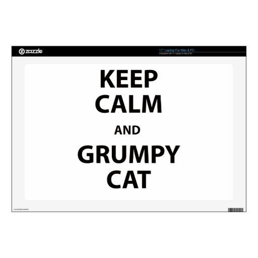 Guarde el gato tranquilo y gruñón portátil calcomanías