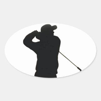 Guarde el golf de la calma y del juego pegatina ovalada