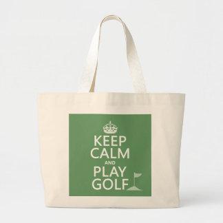 Guarde el golf de la calma y del juego - todos los bolsa tela grande