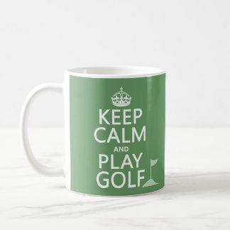Guarde el golf de la calma y del juego - todos los taza básica blanca