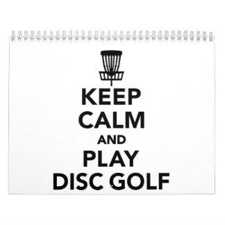 Guarde el golf del disco de la calma y del juego calendario
