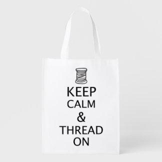 Guarde el hilo tranquilo en luz de encargo del bolsas para la compra