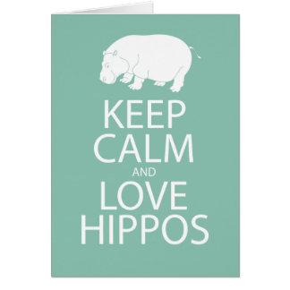 Guarde el Hippopotamus de la impresión de los Tarjeta De Felicitación