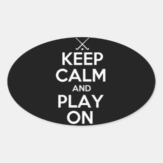 Guarde el hockey hierba de la calma y del juego en pegatinas ovaladas