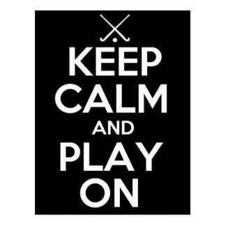Guarde el hockey hierba de la calma y del juego tarjeta postal