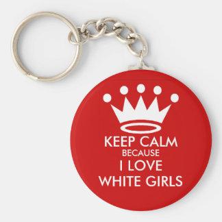Guarde el llavero blanco tranquilo de los chicas