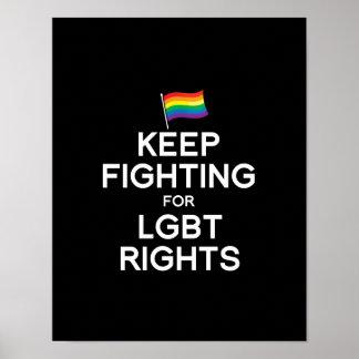 GUARDE EL LUCHAR PARA LAS DERECHAS DE LGBT PÓSTER