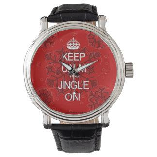 Guarde el navidad rojo tranquilo reloj