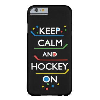 Guarde el negro de la calma y del hockey encendido funda de iPhone 6 barely there