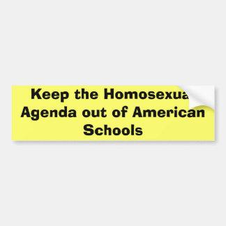 Guarde el orden del día homosexual fuera de escuel etiqueta de parachoque