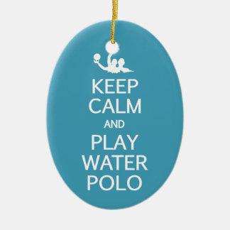 Guarde el ornamento del personalizado del water adorno navideño ovalado de cerámica