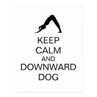 Guarde el perro tranquilo y hacia abajo tarjeta postal