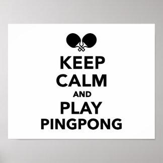 Guarde el ping-pong de la calma y del juego póster