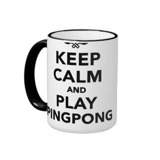Guarde el ping-pong de la calma y del juego taza a dos colores