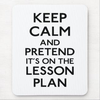 Guarde el plan de lección tranquilo alfombrilla de ratón