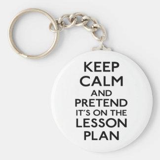 Guarde el plan de lección tranquilo llaveros personalizados