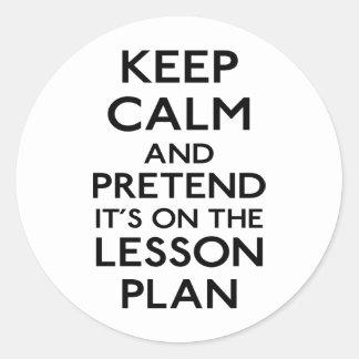 Guarde el plan de lección tranquilo pegatina redonda