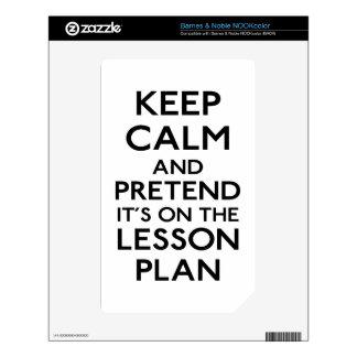 Guarde el plan de lección tranquilo NOOK color calcomanía