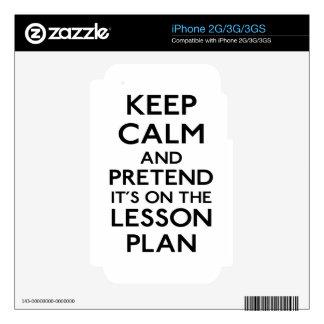 Guarde el plan de lección tranquilo calcomanías para iPhone 3G