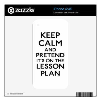 Guarde el plan de lección tranquilo calcomanías para iPhone 4
