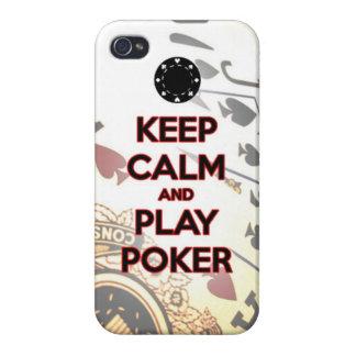 guarde el póker de la calma y del juego iPhone 4 carcasas