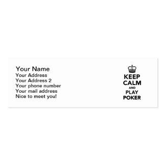 Guarde el póker de la calma y del juego tarjetas de visita mini
