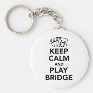 Guarde el puente de la calma y del juego llavero redondo tipo pin
