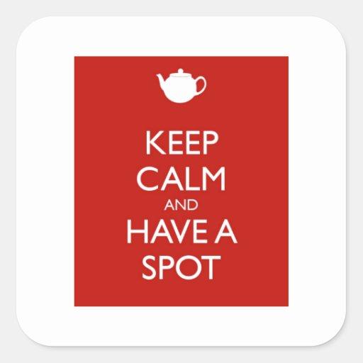 Guarde el punto tranquilo del té calcomania cuadradas