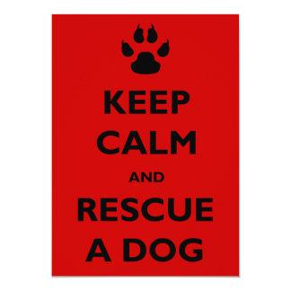 """Guarde el rescate tranquilo del perro invitación 5"""" x 7"""""""