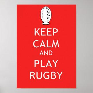 Guarde el rugbi de la calma y del juego póster