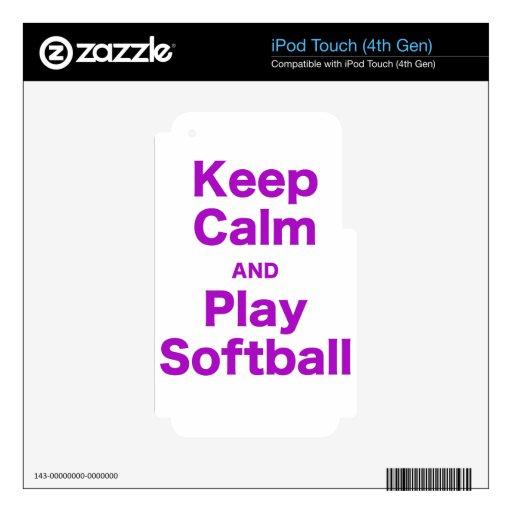 Guarde el softball de la calma y del juego iPod touch 4G skin