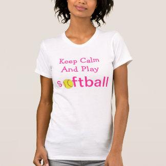 Guarde el softball de la calma y del juego camiseta