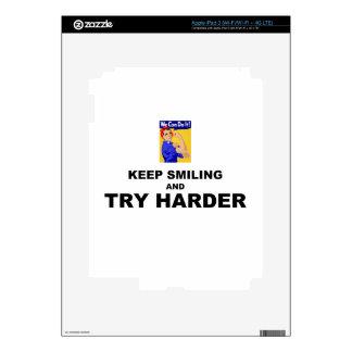 Guarde el sonreír e intente más difícilmente pegatinas skins para iPad 3