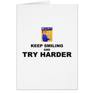 Guarde el sonreír e intente más difícilmente tarjeta de felicitación