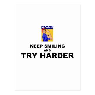 Guarde el sonreír e intente más difícilmente tarjetas postales