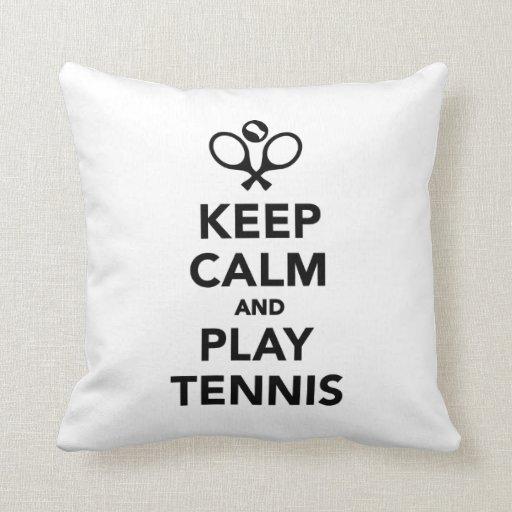 Guarde el tenis de la calma y del juego cojín decorativo