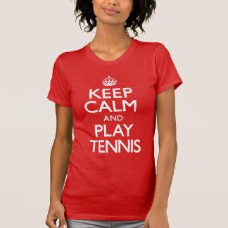 Guarde el tenis de la calma y del juego (continúe) playera